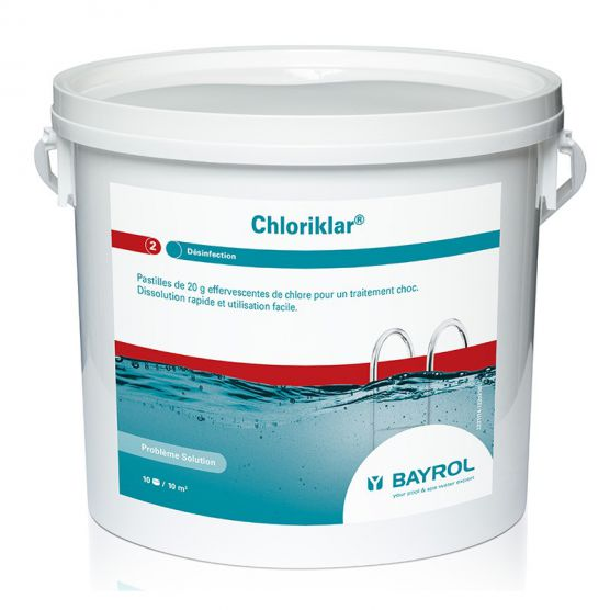 Chlore choc bayrol chloriklar 5kg piscine shop for Concentration chlore piscine