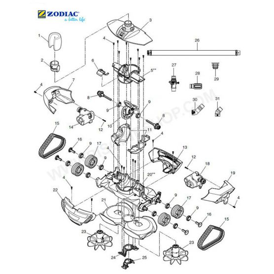 Goupille roue robot zodiac mx8 piscine shop for Robot piscine mx8