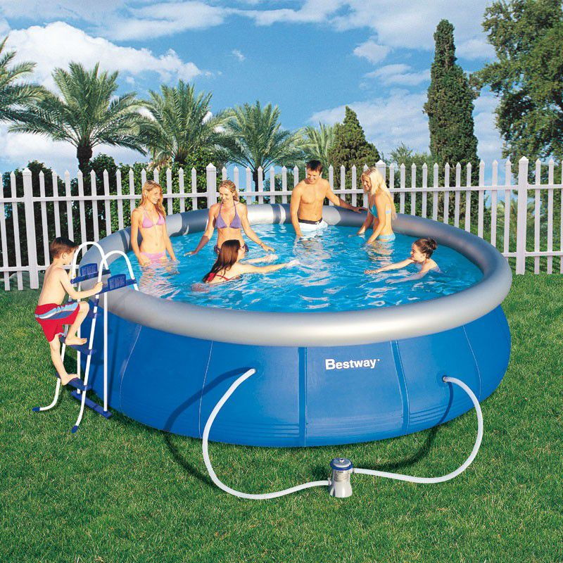 Piscine ronde fast set pool bestway piscine autoportante for Grande piscine ronde hors sol