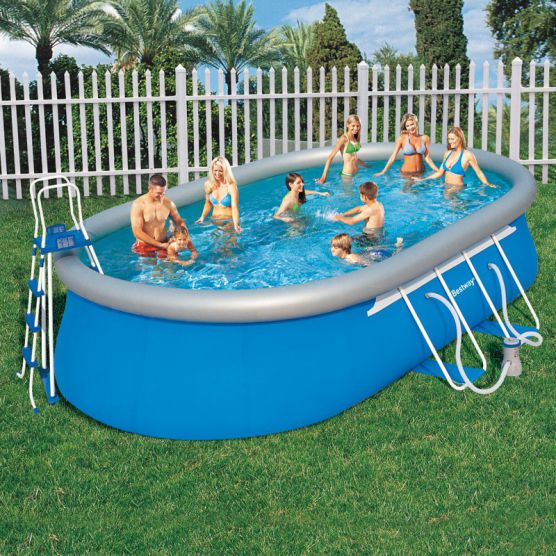 Piscine autoport e bestway ovale fast set m tallis e for Bestway piscine