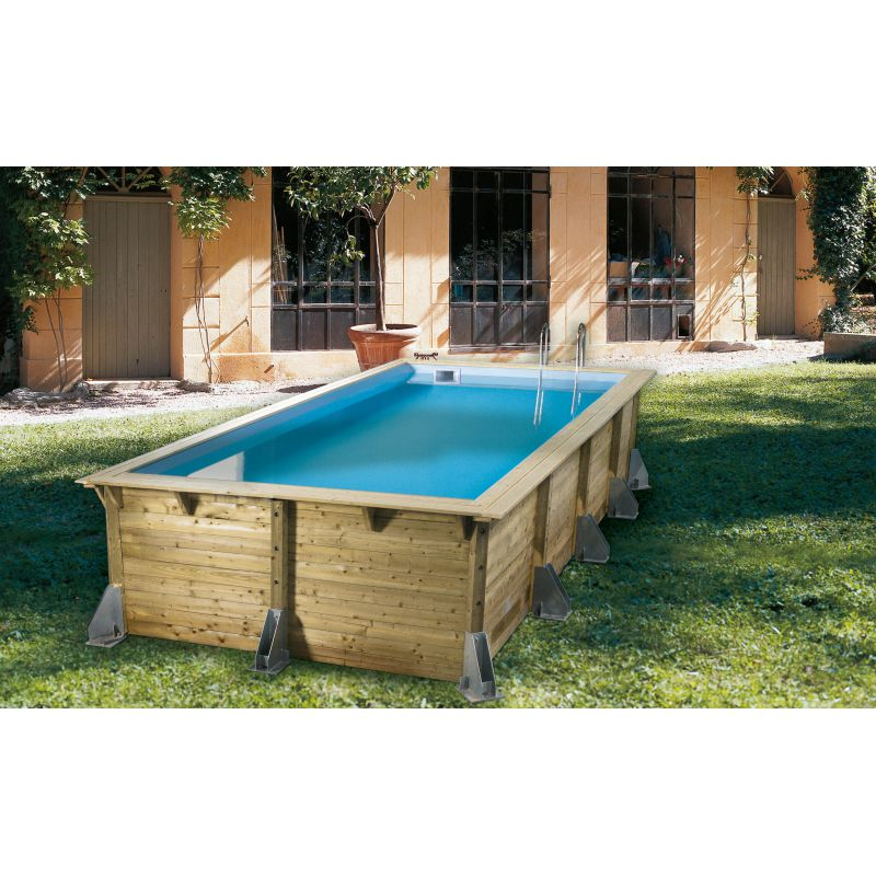 Piscine bois rectangulaire azura nortland ubbink piscine for Piscine hors sol dimension