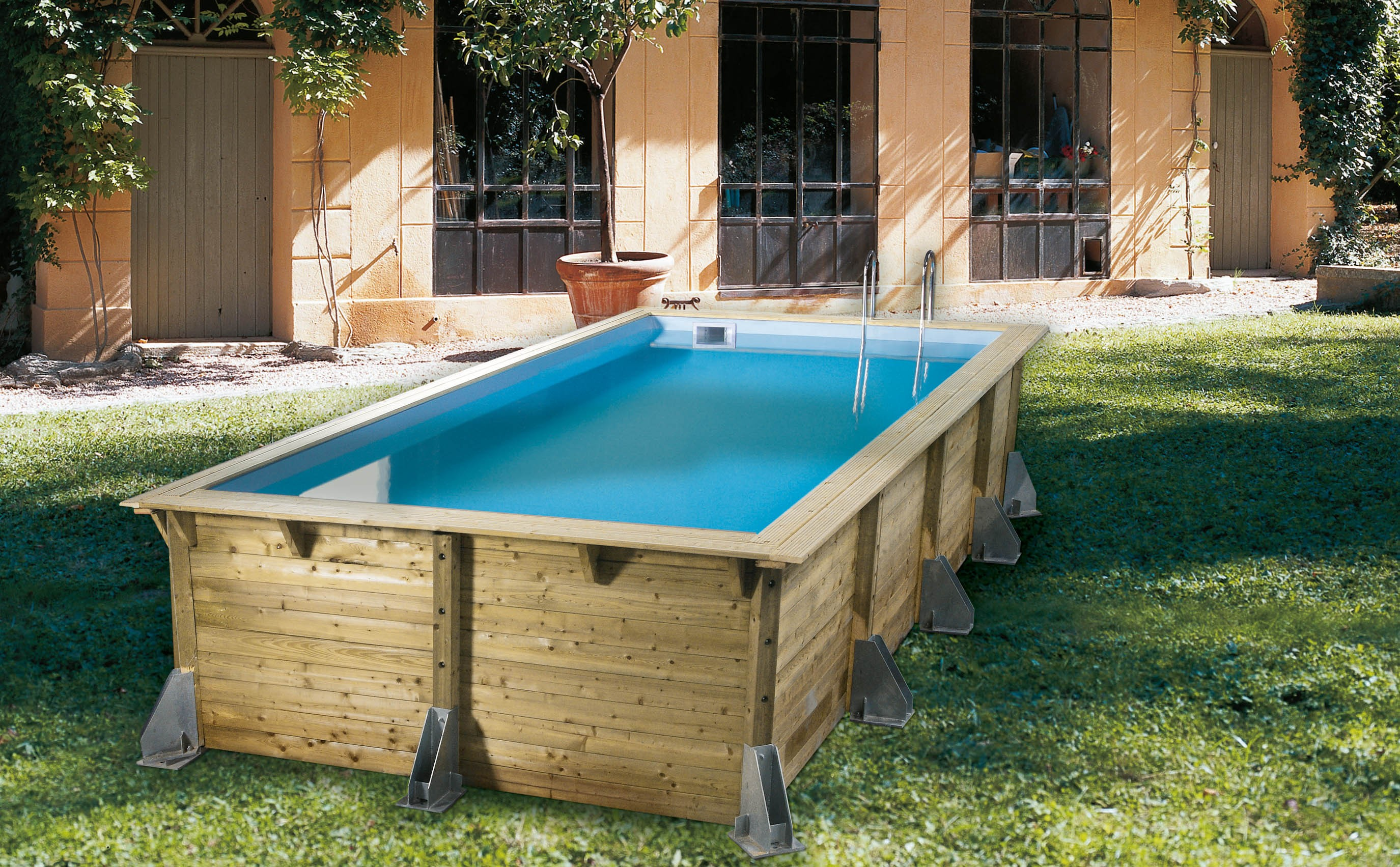 Piscine rectangulaire hors sol for Piscine autoportante bois