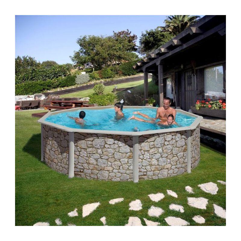 piscine san marina iraklion paroi acier aspect pierre ronde piscine shop. Black Bedroom Furniture Sets. Home Design Ideas